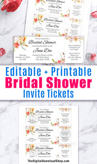Editable and printable bridal shower invitation tickets. These DIY bridal shower invites are a beautiful (and easy) way to create the perfect invitations for your bridal shower!