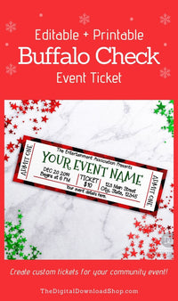 Christmas Event Ticket Template- These custom holiday event tickets are the perfect way to send out invitations to school plays, community events, family events, and more! | #eventTicket #invitation #Christmas #printable #DigitalDownloadShop