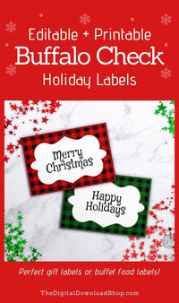 Buffalo Check Christmas Labels Editable Printable- These editable holiday labels can be printed on Avery labels to create adhesive labels to stick on gifts, or printed on card stock to make table cards! | #Christmas #buffaloCheck #giftTags #giftLabels #DigitalDownloadShop