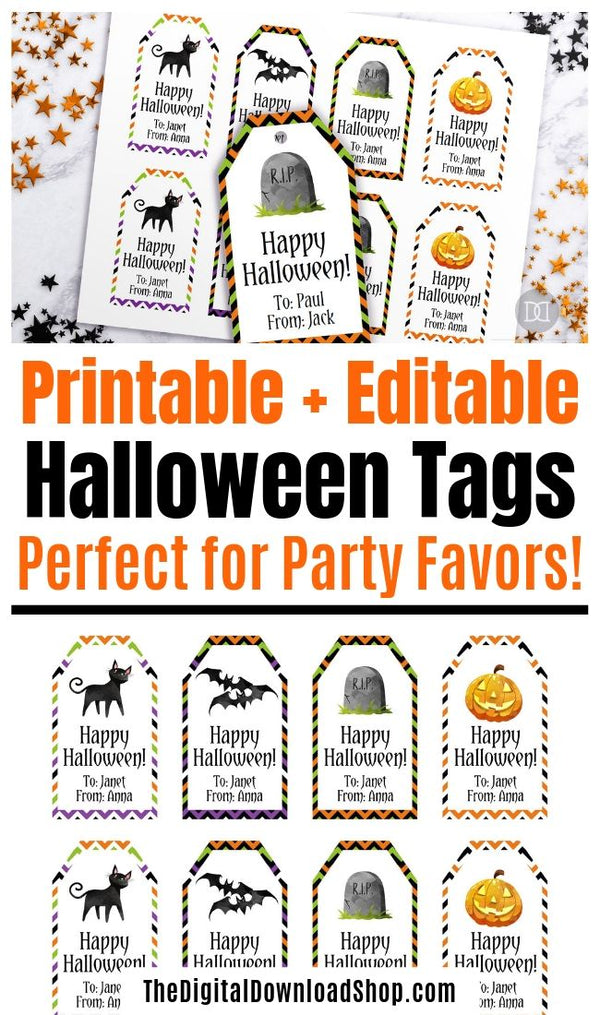 picture relating to Printable Halloween Tags known as Halloween Tags Printable Editable- Satisfied Halloween Chevron