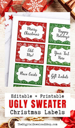 Ugly Sweater Christmas Labels Editable Printable- Editable and printable ugly sweater Christmas labels for presents, place cards, buffet table labels, and more.