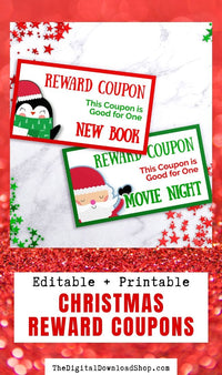 Christmas Kids Coupon Template Printable- These fun holiday reward tickets for kids make wonderful printable stocking stuffers! Or just use them as winter good behavior reward coupons! | #rewardCoupon #Christmas #parenting #printables #DigitalDownloadShop