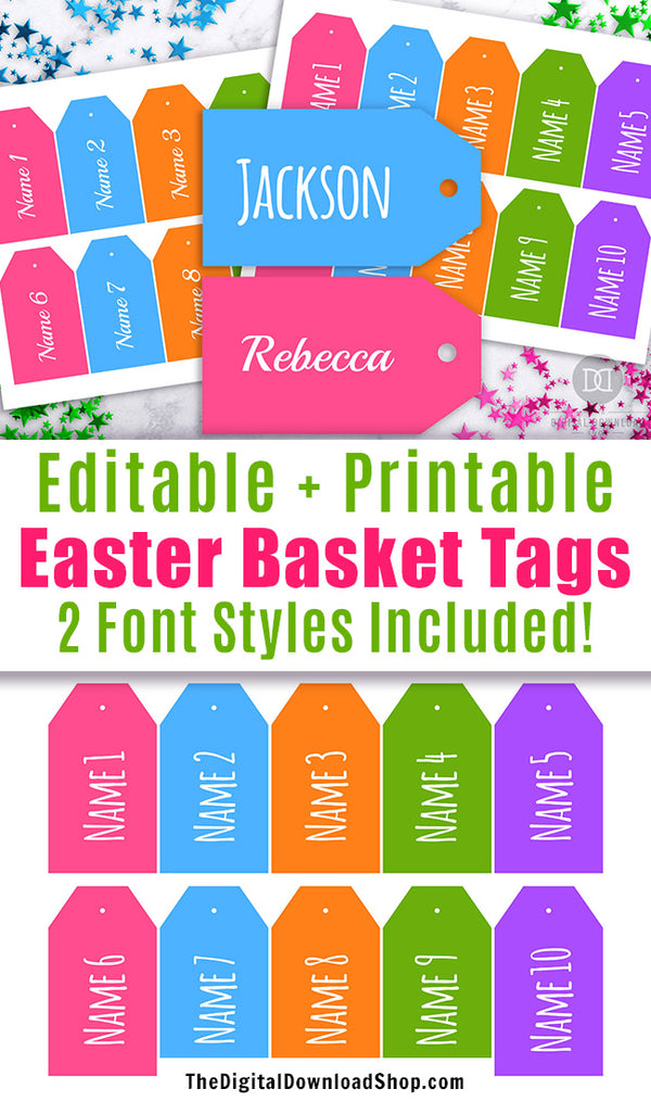 Easter Basket Name Tags Printable- These editable Easter tags are the perfect personalized finishing touch to your Easter baskets! | Easter favor tags, personalized Easter basket tags, #Easter #EasterBasket #printable #DigitalDownloadShop
