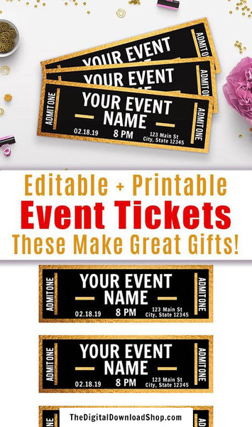 Event Ticket Editable Printable- Gold
