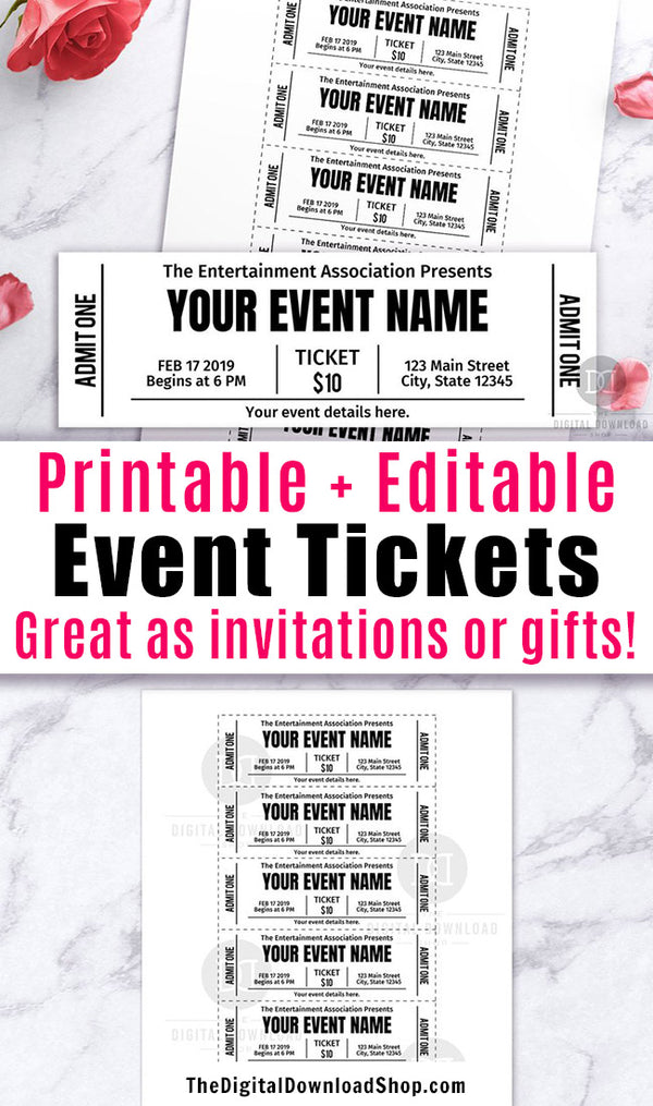 Event Ticket Editable Printable- Black and White