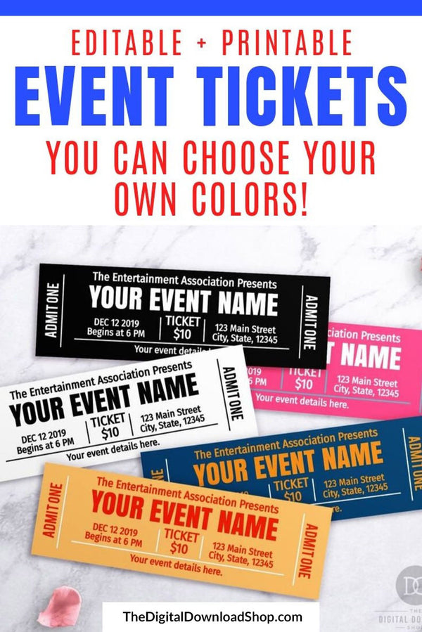 Event Ticket Template Printable- If you want to create custom invitations or give the gift of an event, then you need these fully customizable event ticket printables! | #printable #invitation #editable #diyGift #DigitalDownloadShop