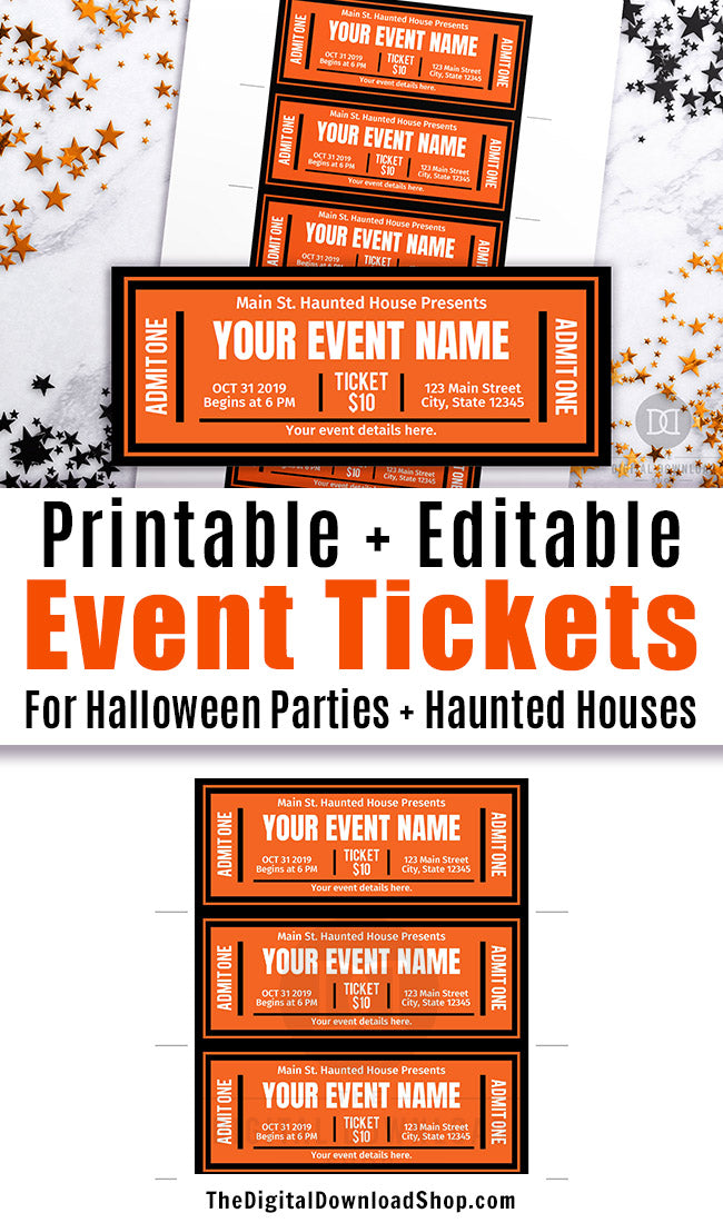 graphic about Printable Event Tickets called Halloween Occasion Ticket Printable Editable The Electronic