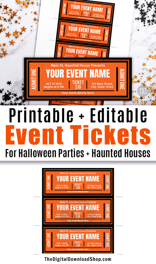 Editable and printable Halloween event tickets. These Halloween invitation tickets would be perfect as haunted house tickets or Halloween party invitations! | Halloween invite printable, haunted house ticket editable, #Halloween #HalloweenParty #hauntedHouse #invitation #DigitalDownloadShop