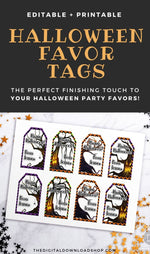Printable Halloween Favor Tags Template- For the perfect finishing touch to your Halloween party favors, use these editable and printable spooky tree favor tags! | #Halloween #favorTags #printableTags #HalloweenDIY #DigitalDownloadShop