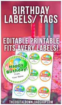 Add the perfect finishing touch to your birthday present with these printable happy birthday gift tags/labels! And they're editable! | round birthday labels, DIY gift tags, printable tags, #birthday #printable #DigitalDownloadShop