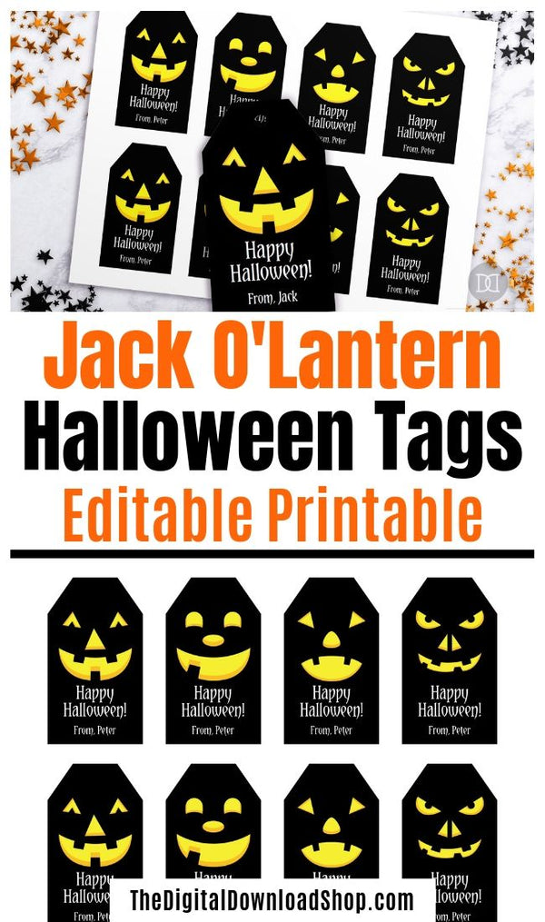Editable and printable Halloween tags with fun Jack O'Lantern faces! These editable tags would make wonderful finishing touches to Halloween party favors or Halloween treat bags! | #Halloween #treatBags #partyFavors #printable #DigitalDownloadShop
