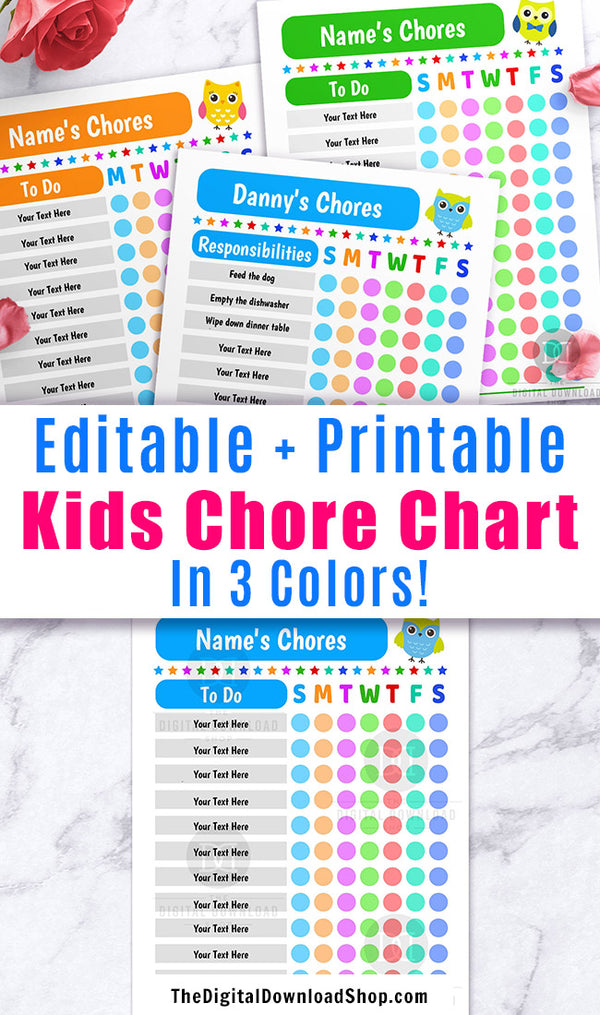Kids Chore Chart Editable Printable with Owls- This editable responsibilities checklist will help your children keep track of their daily tasks! 3 colors are included, each in Sunday and Monday start versions. | weekly chores printables, kids cleaning chart, kids behavior chart, #choreChart #kidsChores #DigitalDownloadShop