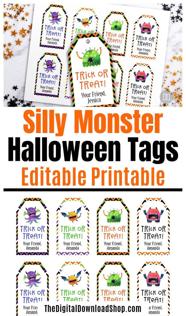 Editable and printable Halloween tags with fun monster graphics! These are perfect for Halloween party favors! | #Halloween #tags #printable #partyFavors #DigitalDownloadShop
