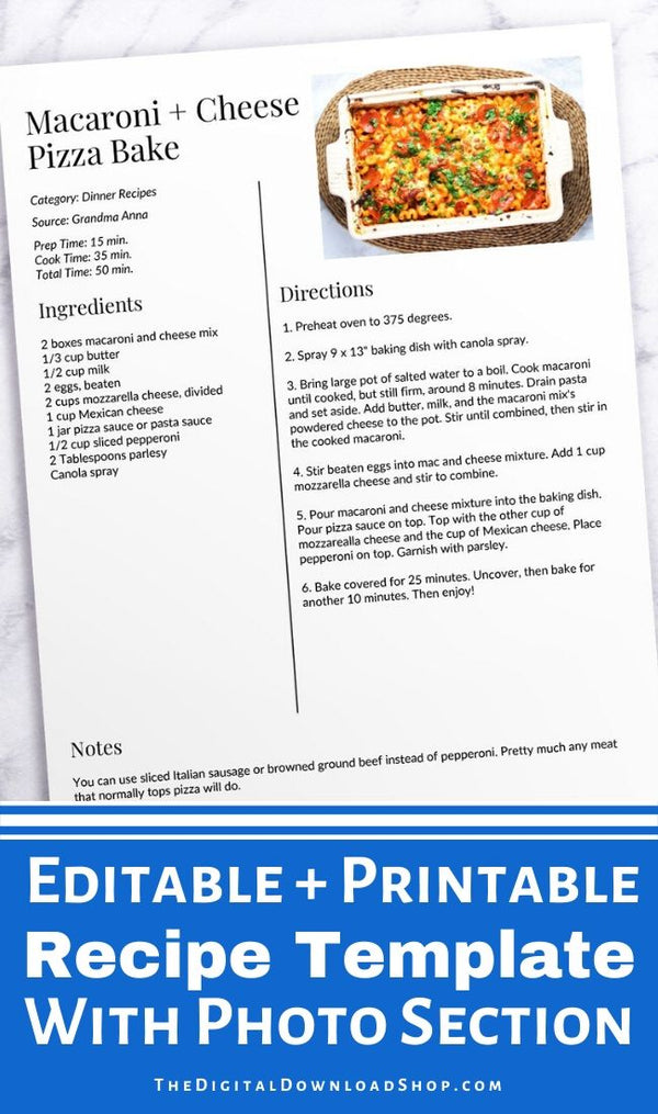 Recipe Template Editable Printable- If you want to organize your family's favorite recipes, you need to type them up in this easy to edit recipe template PDF! You can even add your own photo! | printable recipe sheet, editable PDF recipe page, #recipeBinder #kitchenBinder #recipeTemplate #recipeSheet #DigitalDownloadShop