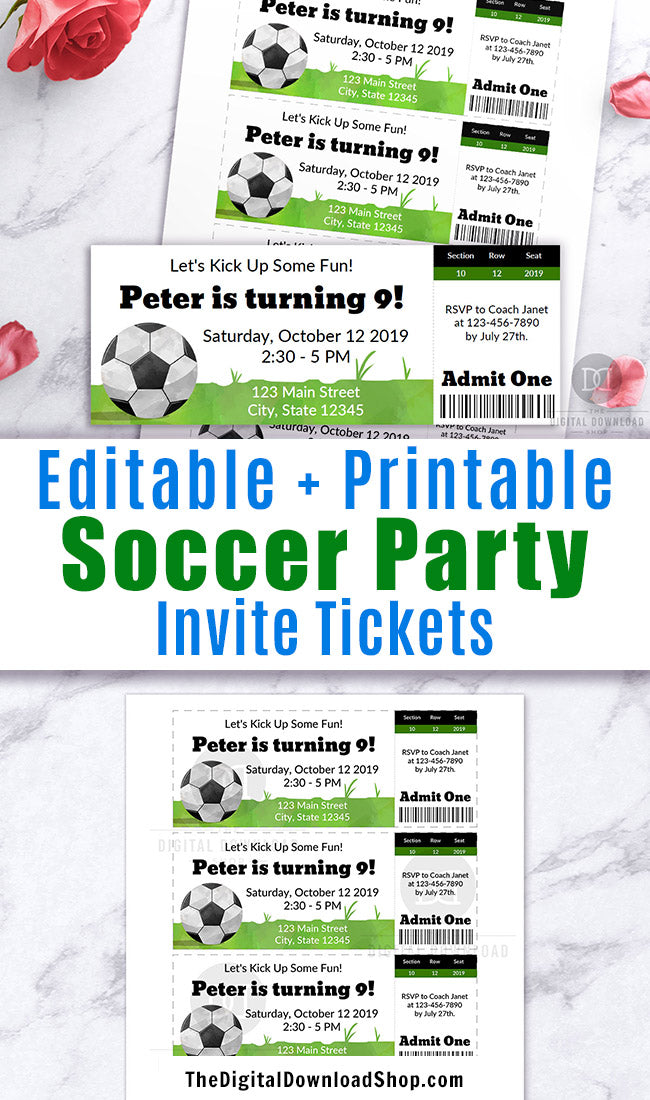 Soccer Party Invitation Template Ticket