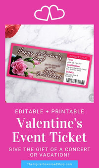 Valentine's Day Event Ticket Template- Flowers- This custom Valentine's event ticket is the perfect way to give the gift of a boarding pass for a holiday vacation or a ticket to a concert! | #DigitalDownloadShop