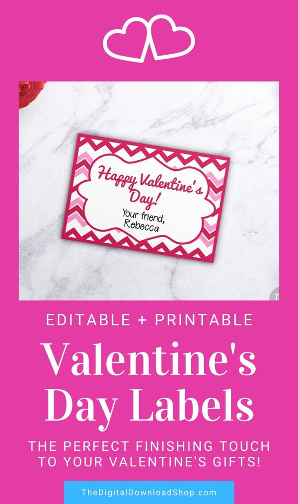 Valentine's Day Labels Printable- Editable and printable Valentine's Day label template for presents, place cards, buffet table labels, and more. | #ValentinesDay #printable #Valentines #labels #DigitalDownloadShop