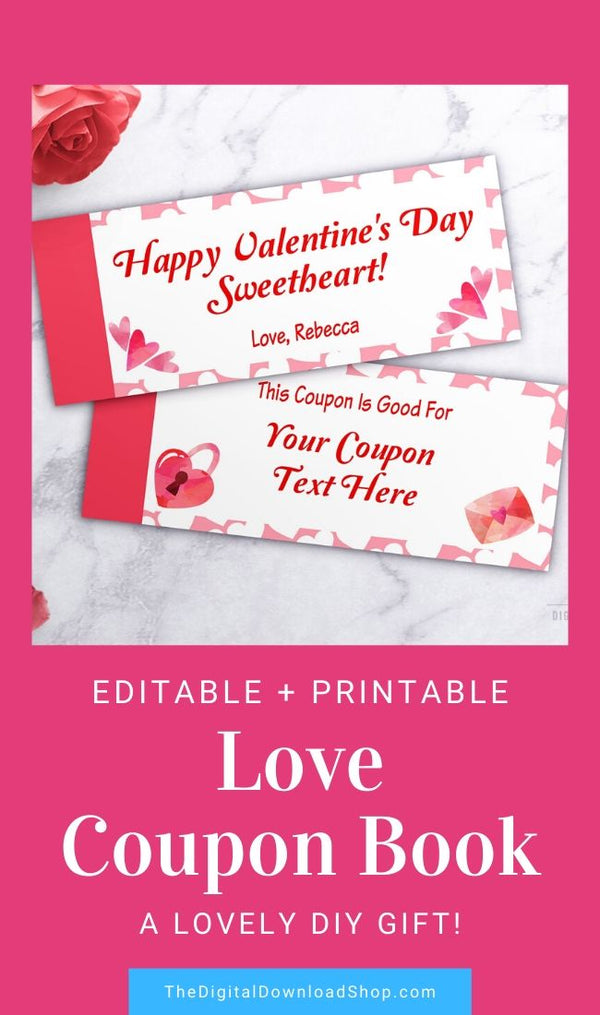 Love Coupons Editable Printable- This editable coupon book template makes a wonderful DIY Valentine's gift! | #DigitalDownloadShop