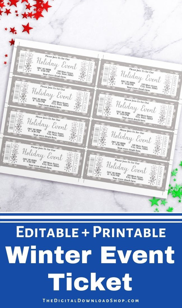 These custom silver snowflake event tickets are the perfect way to send out invitations to Christmas parties, winter school plays, community events, family events, and more! | #Christmas #eventTicket #printable #diyGift #DigitalDownloadShop