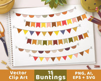 Fall Bunting Clipart - The Digital Download Shop