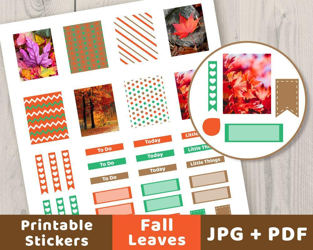 Fall Weekly Sticker Set Printable Planner Stickers - The Digital Download Shop