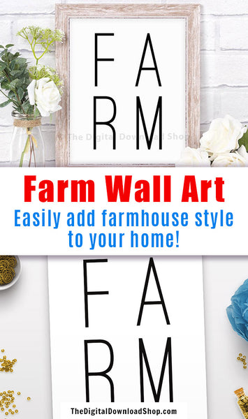 "Farm Printable Wall Art- Minimalist ""Farm"" printable wall art. This black and white typography comes with 4 JPG files in different size ratios so you can print your poster in the perfect size! 