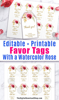 Editable and printable favor tags/gift tags with a gorgeous pink watercolor flower. These editable tags would make lovely finishing touches to wedding favors, baby shower favors, or birthday presents!