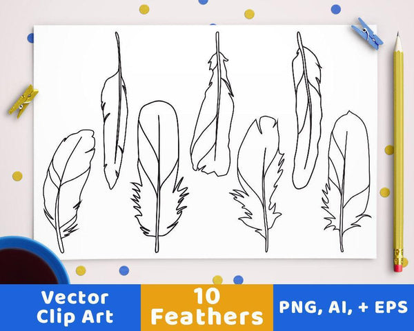 Feather Clipart - The Digital Download Shop