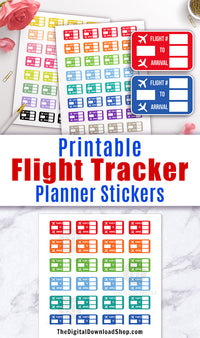 Printable planner stickers- flight tracker stickers for any planner, including Erin Condren's Life Planner. Use these to record your flight information and plan your travel! | #DigitalDownloadShop