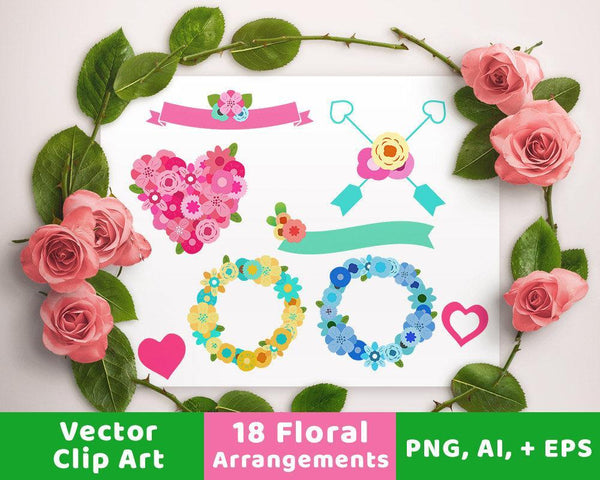 Floral Wedding Clipart- Banners + Wreaths - The Digital Download Shop