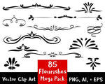 Flourish Clipart- 85 Flourishes Mega Pack - The Digital Download Shop