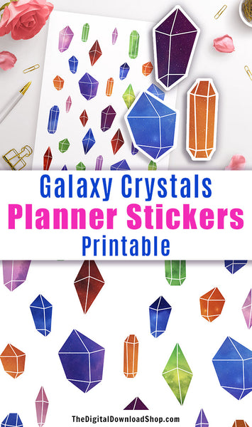 Galaxy Crystals Printable Planner Stickers- Add some fun color to your planner with these decorative planner stickers! | gemstone stickers, colorful stickers, planner addict, #plannerStickers #printableStickers #DigitalDownloadShop