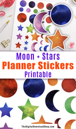 Galaxy Moon + Stars Printable Planner Stickers- Add some fun color to your planner with these moon and star decorative planner stickers! | galaxy stickers, space stickers, colorful planner stickers, deco stickers, #plannerAddict #plannerStickers #DigitalDownloadShop