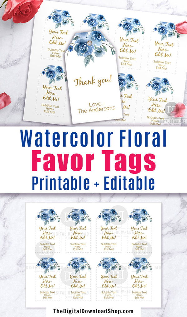 Gift Tags Printable- Blue Florals