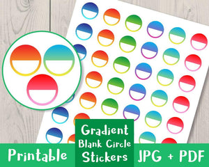 Gradient Blank Circle Printable Planner Stickers - The Digital Download Shop