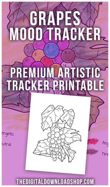 Grapes Mood Tracker Printable: Color by Mood Exclusive- This fun bullet journal mood tracker printable features a beautiful bunch of grapes! With this printable, even if you don't have great art skills, your tracker will be beautiful! | bujo tracker, bujo ideas, bullet journal inspiration, bujo page spreads, #moodTracker #bulletJournal #DigitalDownloadShop