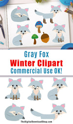 Gray Foxes Clipart- This fox clipart set includes 7 foxes plus 5 extra graphics. These would look lovely in winter or Christmas themed designs! | cute animal clipart, silver fox clipart, #clipart #graphics #DigitalDownloadShop