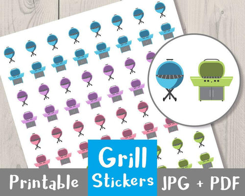 Grill Printable Planner Stickers - The Digital Download Shop