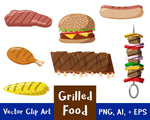 Grilled Food Clipart - The Digital Download Shop