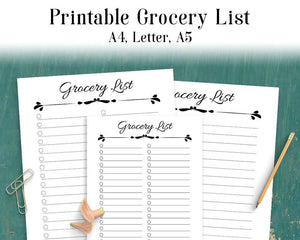 Grocery List Printable - The Digital Download Shop