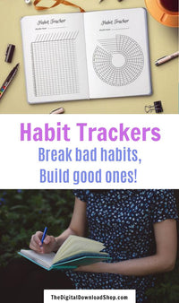 Bullet Journal Habit Trackers- These printable habit trackers are exactly what you need in your planner to stop bad habits and start new good ones! | #bulletJournal #habitTracker #bujo #planner #DigitalDownloadShop