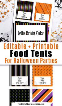 Editable and printable Halloween food tents. These editable buffet cards are the perfect addition to your Halloween party's buffet table, or could be used as place cards! | #Halloween #foodTents #printable #HalloweenParty #DigitalDownloadShop