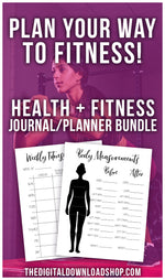 Get the body you've always dreamed of with the help of your planner! With 17 printables, this bundle has all you need to journal/plan your way to fitness! | bullet journal pages, planner insert printables, #fitness #weightLoss #DigitalDownloadShop