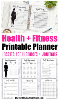 Printable health and fitness planner for bullet journals and other planners. Journal and plan your way to a healthy body with the help of these 17 fitness and wellness planner pages! | health and wellness planner, weight loss planner, weight tracker, body measurements tracker, exercise tracker, workout planner, #fitness #planner #DigitalDownloadShop