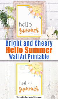 Gorgeous Hello Summer wall art printable with a cute watercolor smiling sun. This lovely summer decor art print would be the perfect way to brighten up any room of your home!