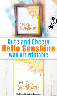 Gorgeous Hello Sunshine wall art printable with a cute watercolor smiling sun. This lovely summer decor art print would be the perfect way to brighten up any room of your home!