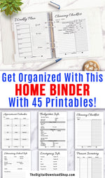 Home Management Binder Printable- | household binder, family binder, home binder, mom binder, #sahm #organizing #DigitalDownloadShopGet your household organized with this handy home management planner printable! With 45 printable pages, everything you could possibly need to organize your family's life is right here!