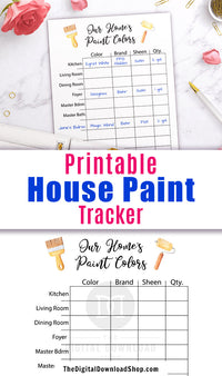 House paint color tracker printable. Easily keep track of the paint used in your home with this house paint planner!