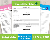 House Sitter Info Sheet Printable - The Digital Download Shop