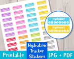 Hydration Tracker Printable Planner Stickers - The Digital Download Shop